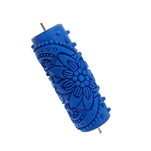 1 unid de Goma en Relieve Flor patrón de Pintura Bricolaje Pintura Decorativa Arte de Caucho Textura de Rodillo Rodillo de Textura Decorativa para máquina de Pintura de Pared