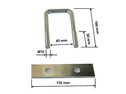 2 U-Bügel Halterungen, Befestigungssatz für Deichselbox, Halter für Staubox, Werkzeugkasten, Montagesatz MON3002 - 2