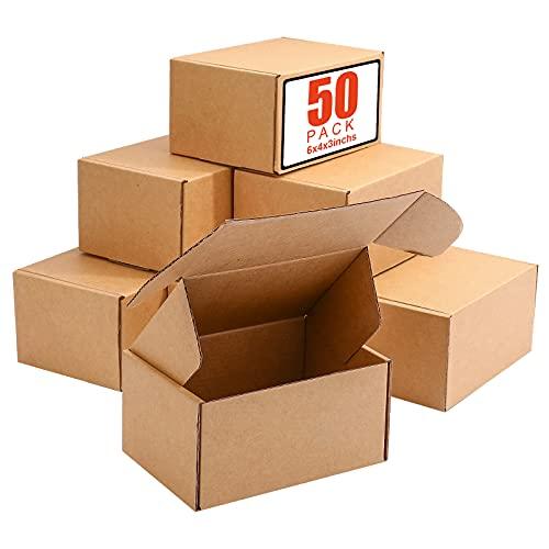 AYGXU 6X4X3 인치 배송 상자 50 소박한 골판지 상자 우편물 포장 문학 메일러