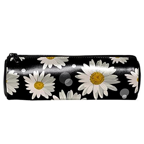EZIOLY Daisy Floral - Estuche de piel para lápices, monedero, bolsa de maquillaje para estudiantes, papelería, escuela, trabajo, oficina, almacenamiento