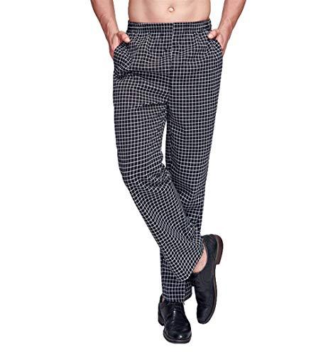Pantalones De Cocinero De Los Hombres Pantalones De Cintura Elástica Ropa Uniformes Pantalones De Trabajo De La Vendimia Pantalones De Pantalón De Cuadros Clásicos De La Tela Escocesa De La Vendimia