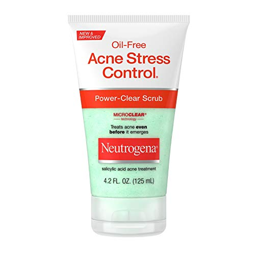 Neutrogena Oil-Free Acne Stress Control Power-Clear Facial Scrub, 2% Salicylic Acid Acne Treatment Medication, Exfoliating Daily Face Scrub for Acne-Prone Skin Care, 4.2 fl. oz