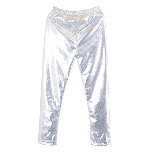 Brightup 2-10 Jahre Mädchen Shiny Leggings Kinder Metallic-Glanz Footless Strumpfhose Cropped Hosen für Frühling Herbst Sommer