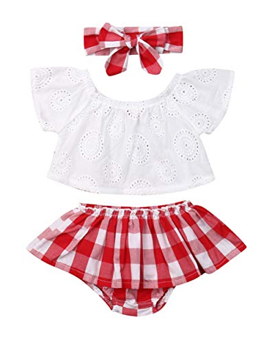 Qiylii 2PCS Baby Girl Lace T-Shirts Tops+Shorts Pants Tutu Skirt Kid Summer Clothes (6-12 Months, J)