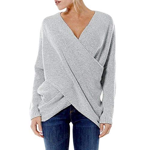 Damen Bluse Langarm Mode T-Shirt Casual Pullover V-Ausschnitt Sweater Damen Rippen...