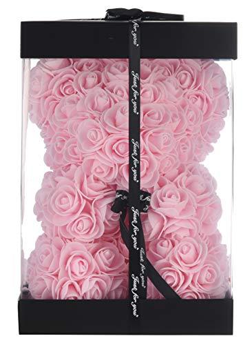 Artificial Flowers Rose Bear,Rose Teddy Bear, Flower Bear Cub, Forever Rose Everlasting Flower for Window Display, Anniversary Christmas Valentines Gift (Light Pink)