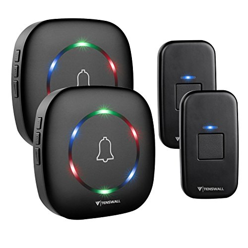 Wireless Doorbell By Tenswall 2nd version- IP55 Waterproof Door Bell...