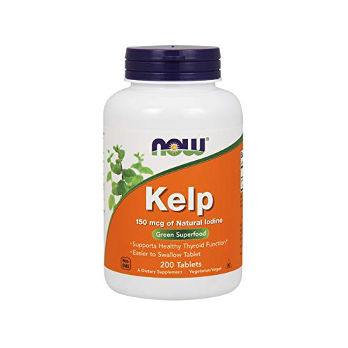NOW Supplements, Kelp 150 mcg of Natural Iodine, Easier to Swallow Tablet, Super Green, 200 Tablets