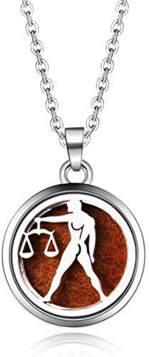MNMXW Difusor de Aceite Esencial Medallón Sagitario Difusor de aromaterapia Collar Acero Inoxidable 316L Perfume magnético Difusor de Aceite Esencial Aroma Locket Colgante