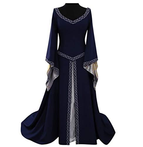 Wolfleague Femmes Robe Medievale Victorienne Reine Costume Col V Manches Flares Robe Vintage Adulte Flare Manches Deguisement