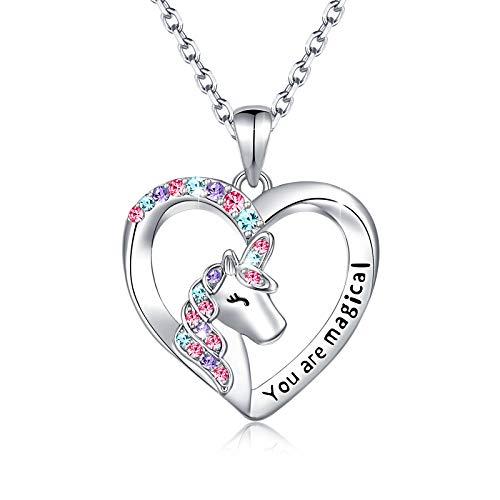 UNGENT THEM Collar de unicornio para niñas, con colgante de corazón de cristal brillante y mágico, para niñas, para adolescentes, hijas, nietas, Navidad, cumpleaños o fiestas plateado