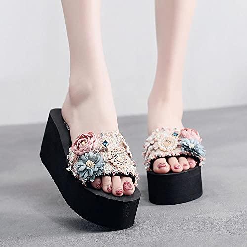 Chanclas Mujer Baratas,Moda Femenina De Verano con Zapatillas De Punta Abierta, Mujer USA Zapatos De Mar Antideslizante Palabra Marcar Playas-I 39 (24.5cm / 9.65')_c