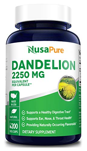 Dandelion Extract 2250mg 200 Veggie Capsules (Non-GMO, Extract 5:1 & Gluten Free) Taraxacum Officinale - Helps to Detox Cleanse Kidney, Liver & Whole Body