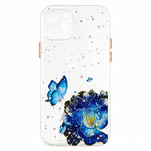 Nadoli Custodia per iPhone 11 PRO Max 6.5',Cristallino Brillante Glitter Bling Blu Farfalla Fiore Corpo Intero Antiurto Dura Indietro Protettivo Cover con Silicone Telaio
