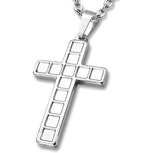 Amanto Danel - Collana da uomo con ciondolo a forma di croce, in acciaio 316L, 45 x 27 mm, 60 cm