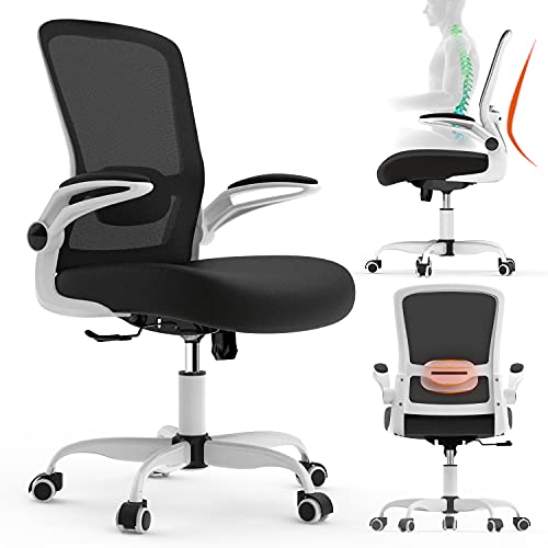 Ergonomic Desk Chair, Office Chair,Mesh Computer Chair with Flip Up Arms, Modern Executive Chair with Lumbar Support & Adjustable Height,Task Chair for Home Office(White)