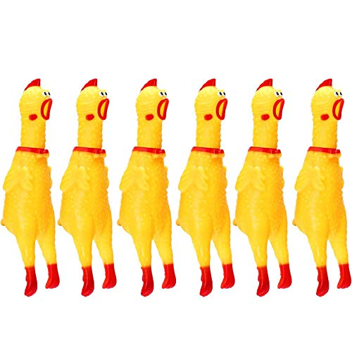 meekoo 6 Packung Gummi Schreiend Hühner Spielzeug Gelb Gummi Quietschen Hühner Spielzeug Neuheit und Dauerhaft Gummi Huhn, Schrillen Dekompression Werkzeug Gadgets