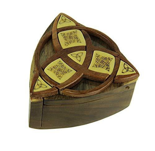 Zeckos Triquetra Celtic Knots Hand Crafted Wooden Trinket/Puzzle Box