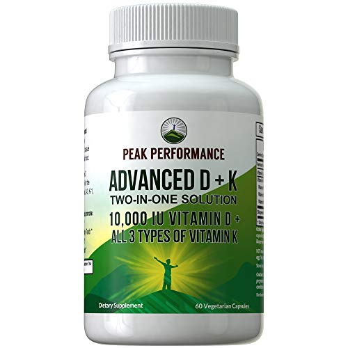 Advanced Vitamin D 10000 IU with All 3 Types of Vitamin K Capsules by Peak Performance. 10,000 IU Vitamin D3 and Vitamin K2, K1, MK-7 (MK7), MK4 Supplement. 60 Small and Easy to Swallow Pills