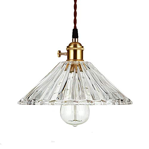 LFsem Industrie Glas Pendelleuchte Plissee Lampenschirm Hängelampe Retro Loft Deckenleuchte 25cm