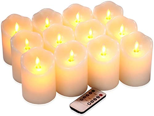 qinxiang Flameless Candles Flickering LED Candles Set of 12 (D:3' X H:4') Ivory Real Wax Pillar Battery Operated Candles with Dancing LED Flame 10-Key Remote and Cycling 24 Hours Timer