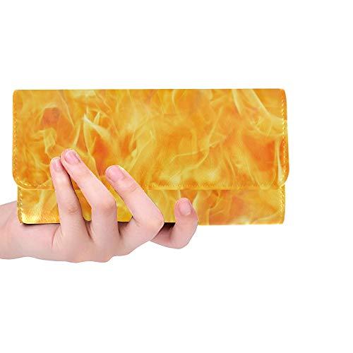 Único Personalizado Blaze Fire Flame Textura Mujeres Monedero Tríptico Monedero Largo Titular de la Tarjeta de Crédito Caso Bolso