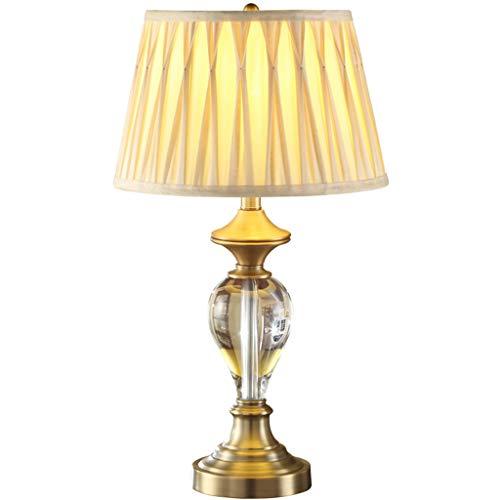 ZWeiD Versiering bureaulamp, Boek van de Lezing Ligh Study Lamp Beige Gevouwen Bloem Effect lampenkap Koper Platen Base 35,5 * 64cm Verlichting tafellamp (Size : 35.5 * 35.5 * 64CM)