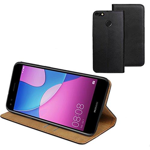MOELECTRONIX ECHT Leder Buch Klapp Tasche Schutz Hülle Flip Hülle Etui passend für Huawei Y6 Pro 2017 Dual SIM SLA-L22