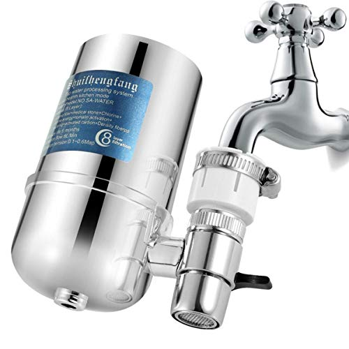 Faucet Water Filter, Slickbox 8 Layer Kitchen Faucet Water Tap Filter, Tap Water Purifier Filter Switch, Easy Installation - Fits Standard Faucets