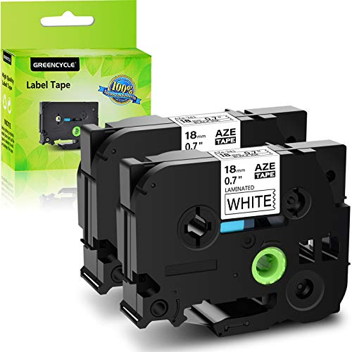 GREENCYCLE 2 Pack Compatible for Brother TZ241 TZe241 TZ-241 TZe-241 Black On White Label Tape Replacement for P Touch Labeler 18mm