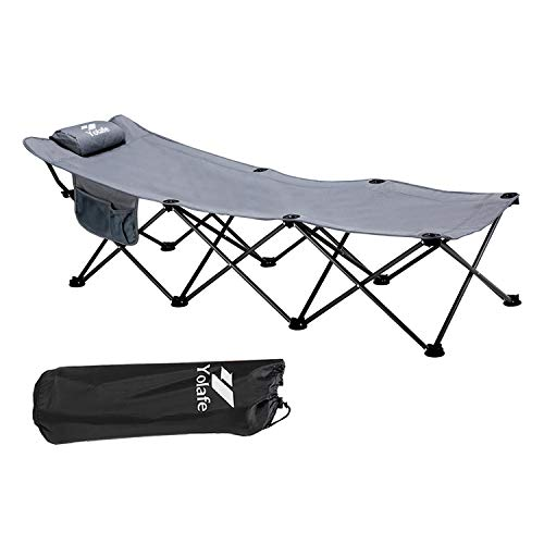 Folding Camping Cot Portable Sleeping Bed for Adults Kids Heavy Duty Collapsible Sturdy Steel Frame Supports 300LBS Traveling and Home Lounging with Pillow and Carry Bag