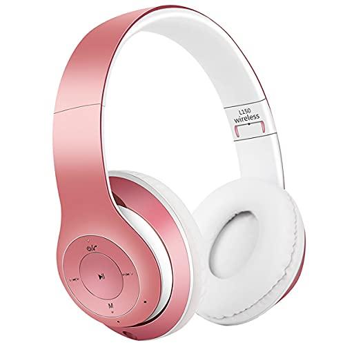 COOLEAD Auriculares inalámbricos Bluetooth, cómodos estéreo, plegables, con micrófono, para móviles, PC, iPhone, Samsung, iPad (rosa)