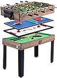 マルチゲームテーブル、フーズボールビリヤード付き4-in-1コンボゲームテーブル、ファミリーナイトホームパーティー用卓上サッカービリヤード台ゲーム(チェスセット)