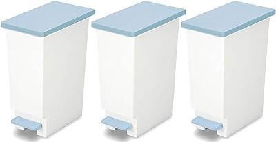 トンボ ゴミ箱 3個セット 20L 日本製 フタ付き ペダル式 分別 スリム ブルー ネオカラー 新輝合成