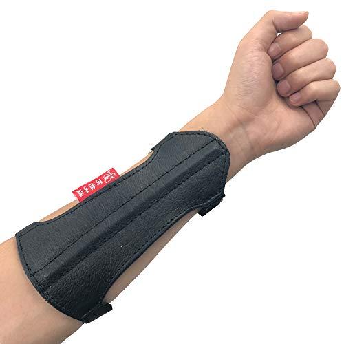 longbowmaker Unterarmschutz Schwarzer Bogenschießen Armschutz aus Leder mit 2 Verstellbaren Trägernals Bogensport Zubehör