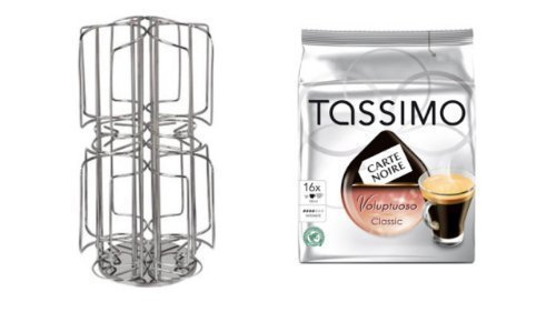 Carte Noire Voluptuoso Classic 1 Packung + Kaffee-Kapselständer für Tassimo, 64 Kapseln, Edelstahl