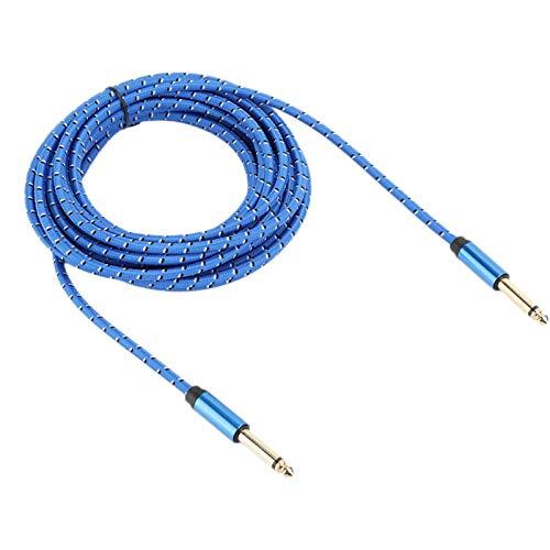 Mxzzand Cable de Audio Anti-compresión Mono Durable Hermosa aleación de Aluminio 6.35 Cable de Audio Macho a Macho para Guitarra eléctrica y Altavoz(Blue, 6 Meters)