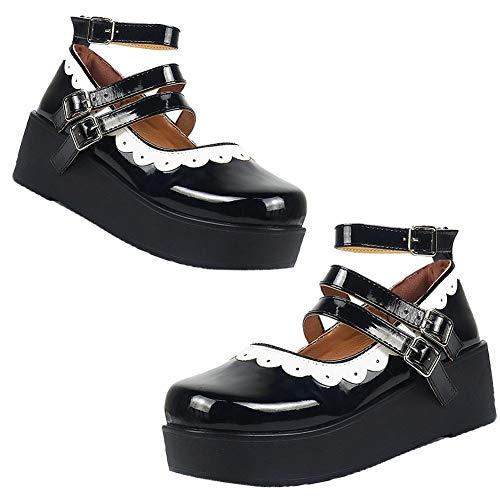 AOSPHIRAYLIAN Mary Janes Damen Plateau Keilabsatz Gothic Lolita Schuhe Cosplay Pumps Schuhe, (2black), 42 EU