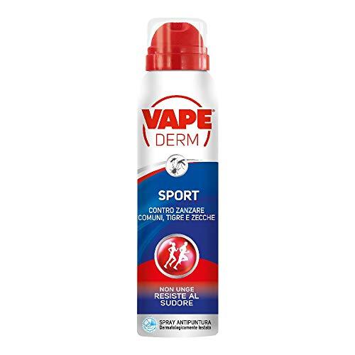 Vape Derm Sport Spray Repellente Zanzare Adatto alle Attività Sportive, fino a 6 Ore
