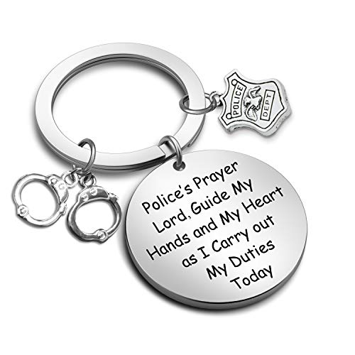 G-Ahora Police Officer Prayer Keychain Guide My Hands and My Heart Law Enforcement Police Academy Graduation Gifts(Police Prayer KR)