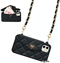 UnnFiko Wallet Case Compatible with iPhone 12 Mini, Cute Light Luxury Bag Design, Purse Flip Card Pouch Cover Soft Silicone Case with Handstrap Long Shoulder Strap (Black, iPhone 12 Mini)