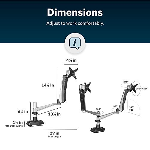 Vari Dual-Monitor Arm - Full-Motion Spring w/ 360 Degree Articulation - Easy Height Adjustment