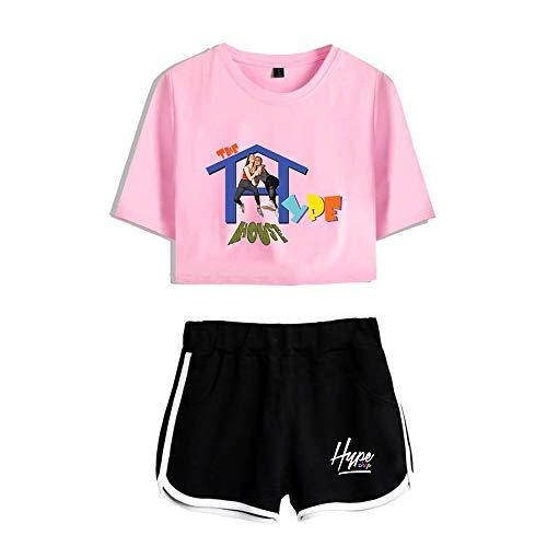 The Hype House Haut Et Short pour Filles À Imprimé 3D 2 Pièces Ensemble T-Shirt À Manches Courtes Et Short pour Femme,Pink 1,XL