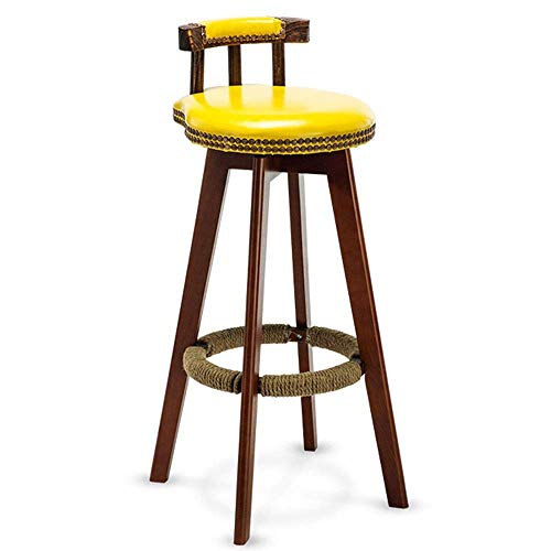 JIAYIBAO Bar Stool High Stool Kitchen Chair Bar Furniture Solid Wood Frame 360° Rotating Bearing Weight 150kg Seat Height 75cm