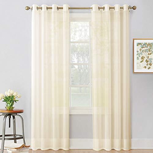 PONY DANCE Voile Gardinen Beige Transparent - Voile Vorhang für Wohnzimmer Dekoschals Gardinen Ösenschal, 2 Stücke H 245 x B 140 cm
