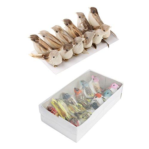 perfk 24 X Plumas Artificiales Tarareando Pájaros Regalo para Niños Navidad Decoración del Hogar