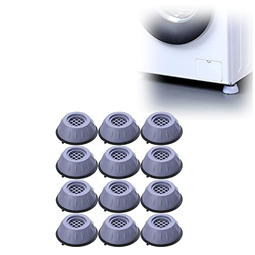 Soporte para lavadora con cancelación de ruido y golpes, estabilizador para lavadora, accesorios para lavadora y secadora, almohadillas antivibración y antideslizantes para los pies (12pcs)