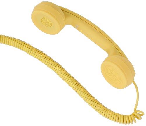 """hi-Fun Hi-Ring, Mini Cornetta Vintage con Filo e Jack Audio da 3.5"""", Colore Giallo"""