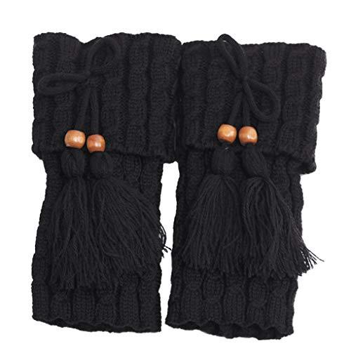 Vokmon 1 Paar gestrickte Beinwärmer Frauen Crochet Stiefel Socken Boot Boot Cuffs-Bein-Wärmer Frau Boho Stiefel Socken Lady Winterstiefel
