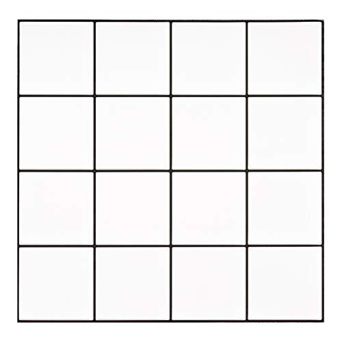 Ecoart - Juego de 6 adhesivos 3D para pared, diseño de azulejos blancos, 16 rejillas, impermeables, autoadhesivos, para el cuarto de baño y la cocina, 25,4 x 25,4 cm